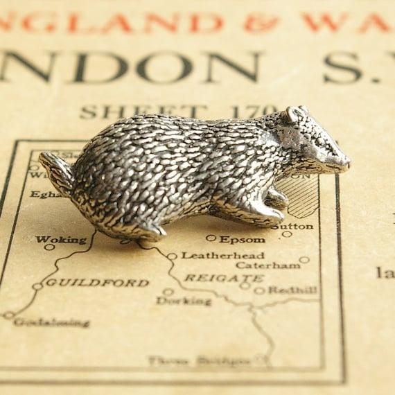 wild badger, antiqued pewter tie tack pin