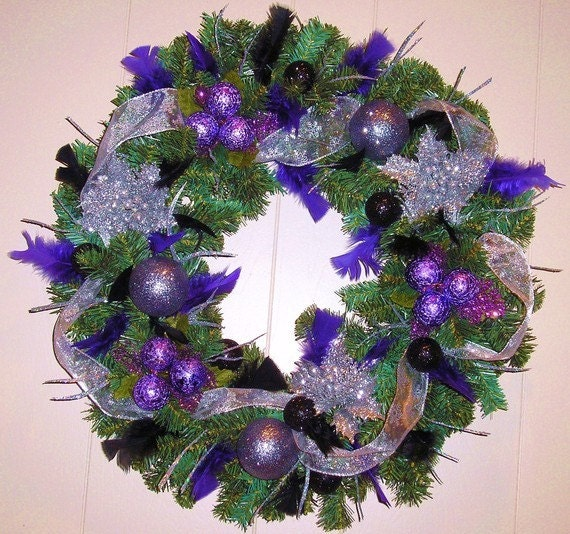 Christmas Wreath Purple Black Silver Feathers Door Wreath