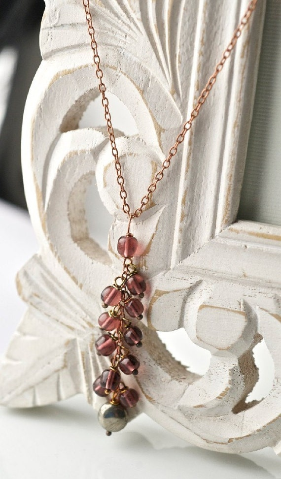 Novello necklace - Vintage glass beads and pyrite