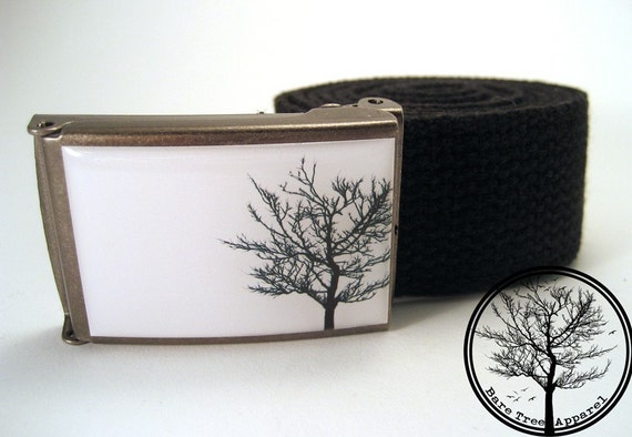 Solitary Black Bare Tree on White background on Antiqued Steel Buckle with black cotton belt