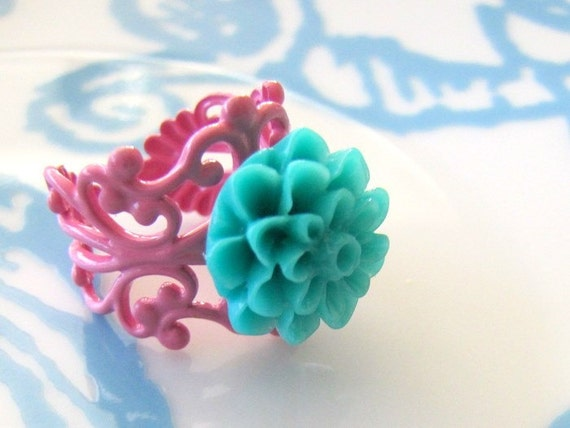Petite Teal Flower on a Pink Filigree Ring