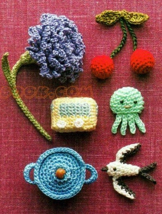 Free shipping 100 small crochet objects pattern 2(PDF)