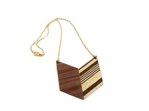 ARIZ - Laser cut walnut necklace, gold