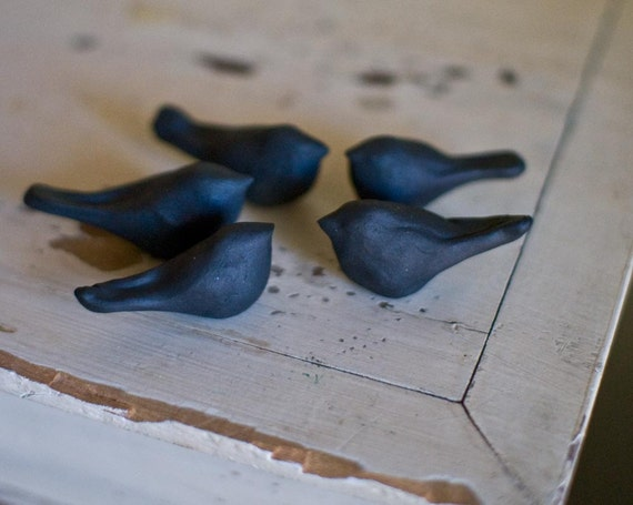 Counting Crows- -set of 5 BLACK stoneware bird sculptures