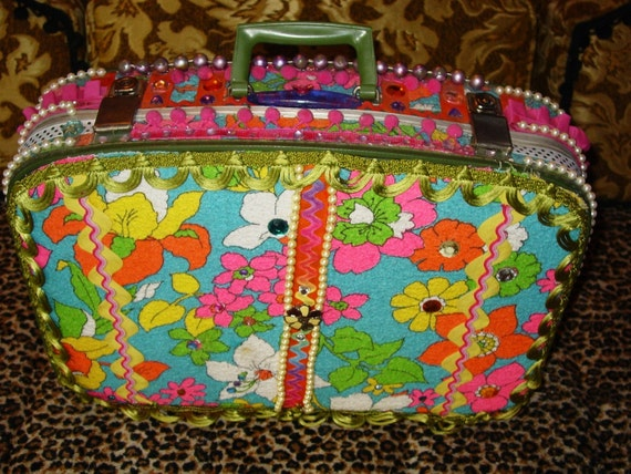 recycled vintage DAY AT THE BEACH  suitcase by C. Reinke vintage TERRY CLOTH and trimsRESERVED FOR raqmitch