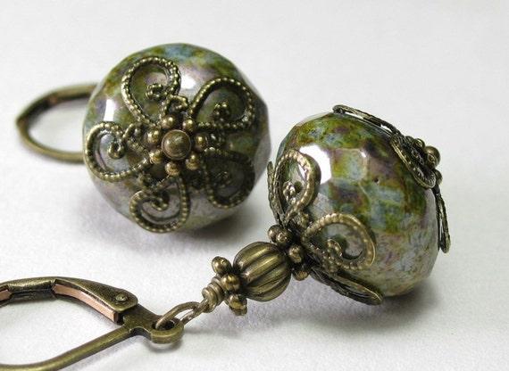 Opaque Antique Green Czech Glass and Brass Earrings