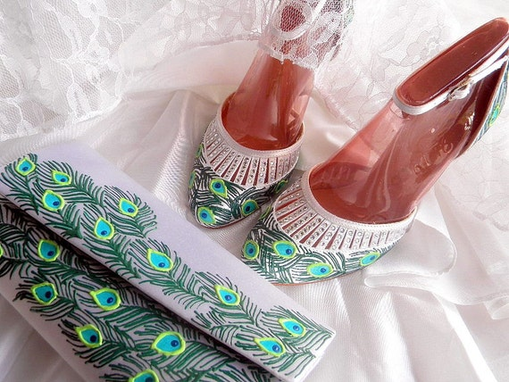 Wedding Bridal set shoes and clutch peacock feather