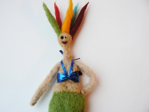 Needle Felted Colorful Mermaid Art Doll by 5erg on Etsy from etsy.com