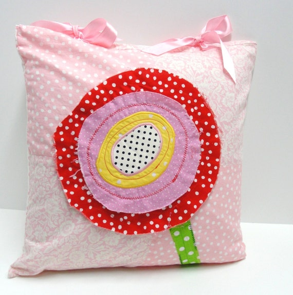 poppy pillow cover with ribbon ties in pink