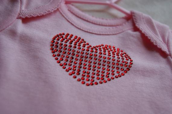 Pink Rhinestone Heart Onesie