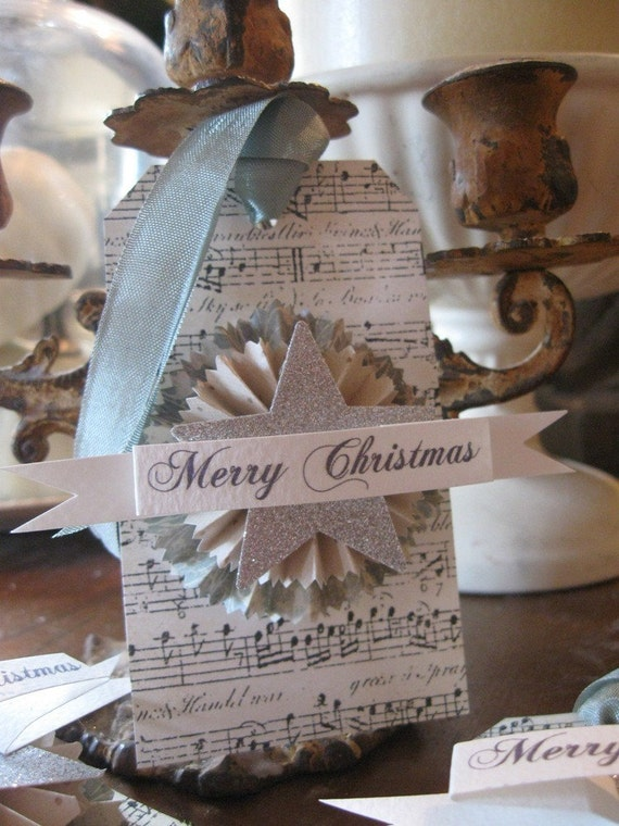 Set of 4 MERRY CHRISTMAS Paper Rosette SILVER GLITTER STAR Large gun metal green gray slate Luggage Gift Favor Party Hang Tag Shabby Chic French Aged Sheet Music Christmas Holiday ornament