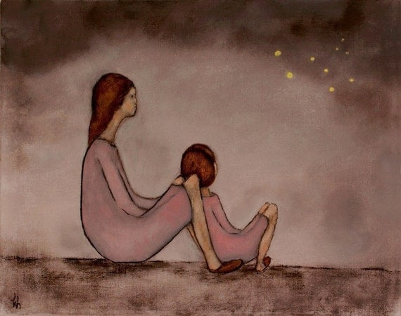 Art print mom daughter, Fireflies  Mae and Bebe