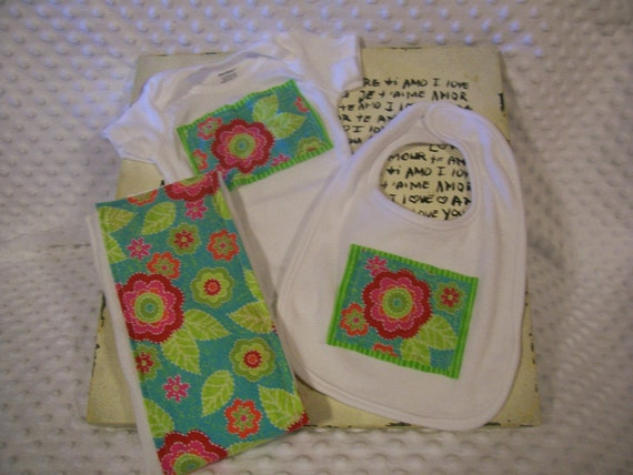 Baby Girl Retro Flower Onesie, Bib, and Burp Cloth