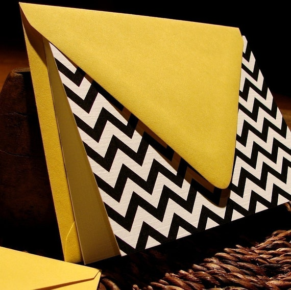 black chevron stripe notecards - set (10)
