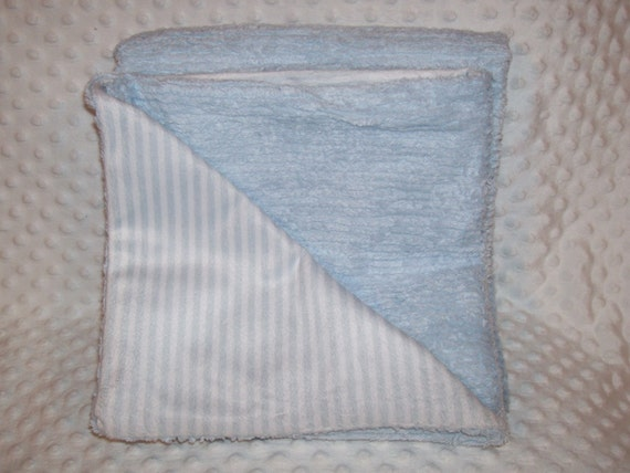 Baby Boy Baby Blue Chenille and Pin Striped Blanket