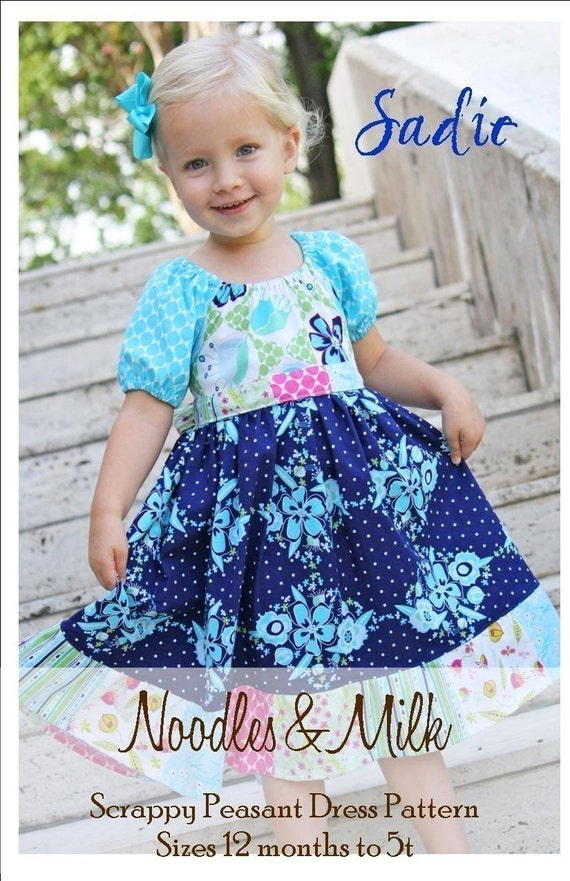 NEW Noodles and Milk Sewing Pattern -Tutorial PDF DIY-Sadie Scrappy Peasant Dress Pattern- Sizes 12 months to 5t