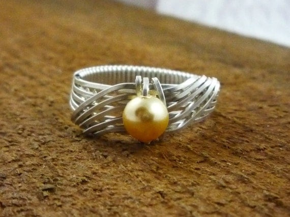MADE TO ORDER Cream Swarovski Pearl Ring