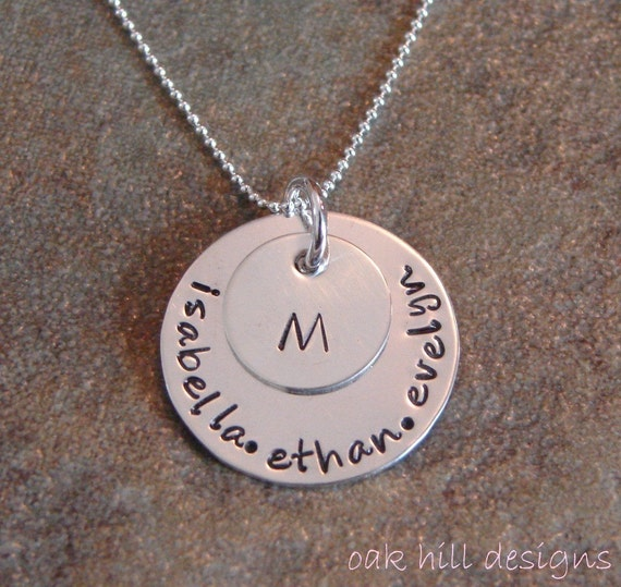 hand stamped necklace-sterling silver custom personalized jewelry-silver family circle