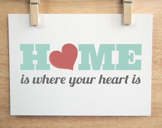 Home Is Where Your Heart Is - 5 x 7 in Blue