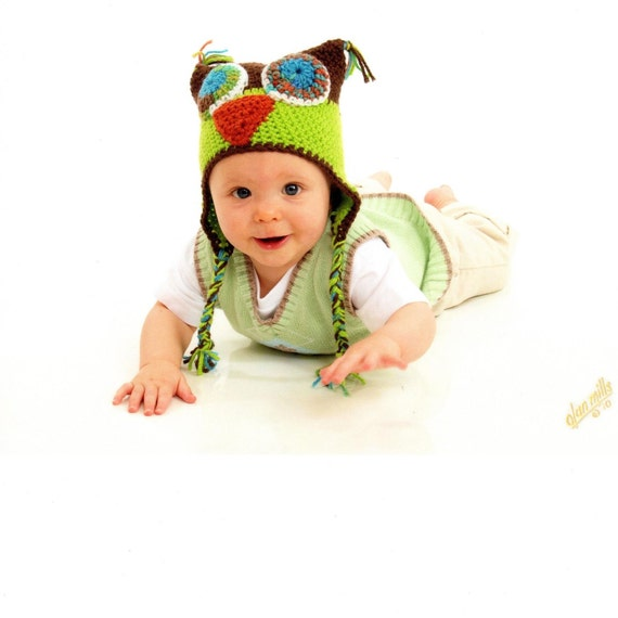 Hoo, Hoo, Hoooo Goes There Funky Hoot Owl Hat, Newborn -Child