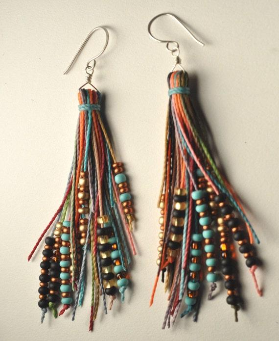 feather fringe earrings
