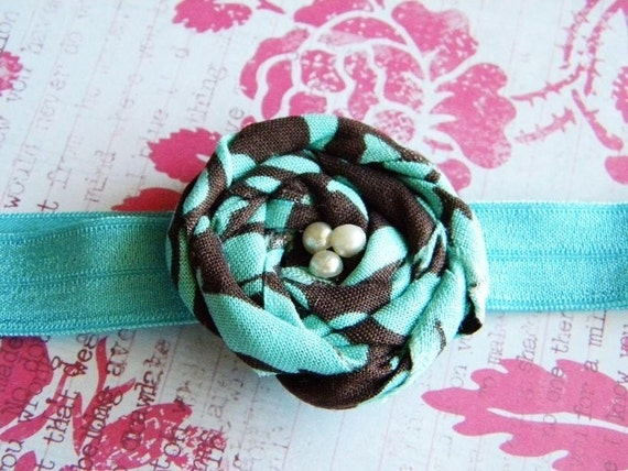 Chocolate Brown and Turquoise Fabric Rosette on Matching Turquoise Elastic Headband