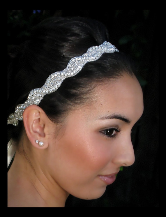 Della - Rhinestone beaded bridal headband / sash 18 inches
