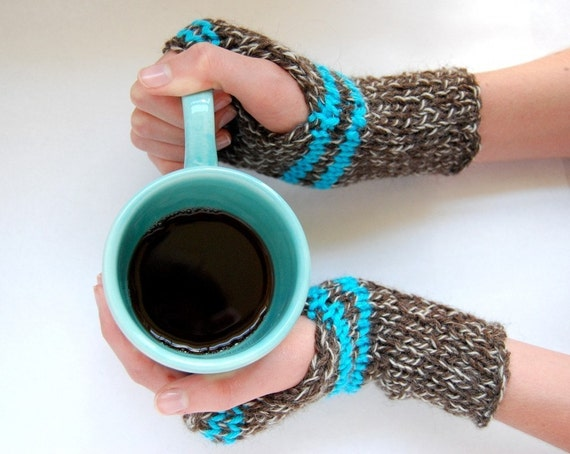 Stripe Wrist Warmers - Brown and Turquoise
