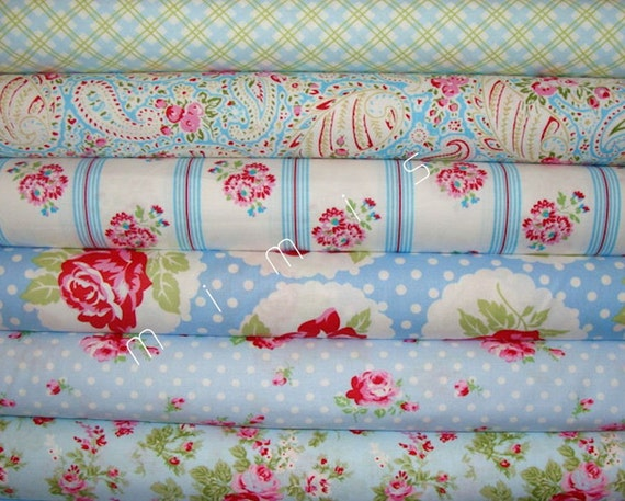 NEW Tanya Whelan DELILAH 6 Half Yard Bundle BLUES Quilt Fabric