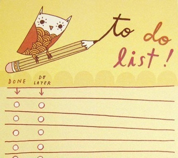 to do list notepad. YELLOW OWL TO DO LIST note pad by boygirlparty, bird office memo notepad