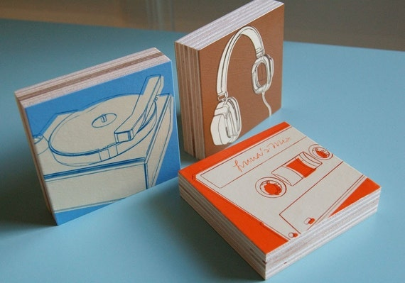 15% OFF SALE Lunastrella Art Block Set - 3 in x 3 in - Headphones, Cassette and Phono