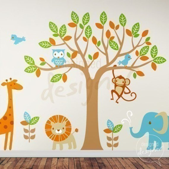 NEW DESIGN - Safari Playland (with 6 types of animal) - dd1040 - Nursery Vinyl Wall Sticker Decal Baby Kid