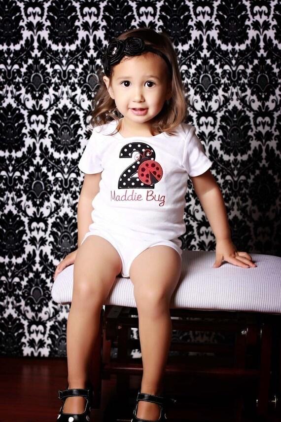 Red Ladybug Birthday Shirt or Onesie - Custom Monogrammed