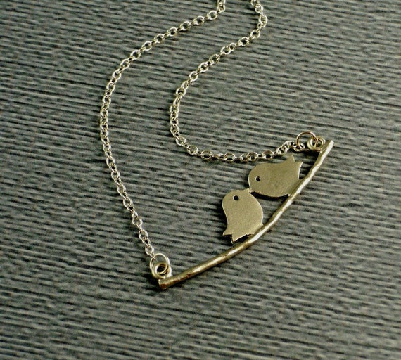 Free Shipping White Gold Plated Love Birds Necklace by Manocelebrates On Etsy