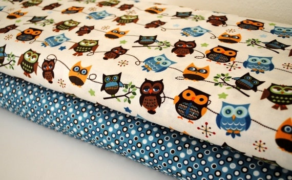 Hooty Hoot Kangaroo Owl Roll Call and Blue Mini Dots by Riley Blake 1 yard set of 2