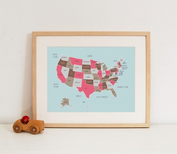 Map of The United States in Pinks and Browns
