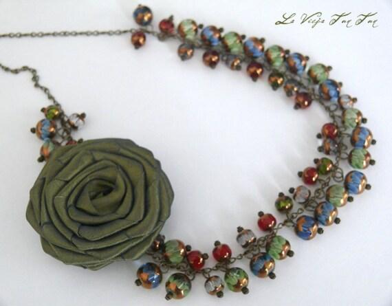 SALE Delicate Olive Rose Necklace /Cluster Statement Necklace