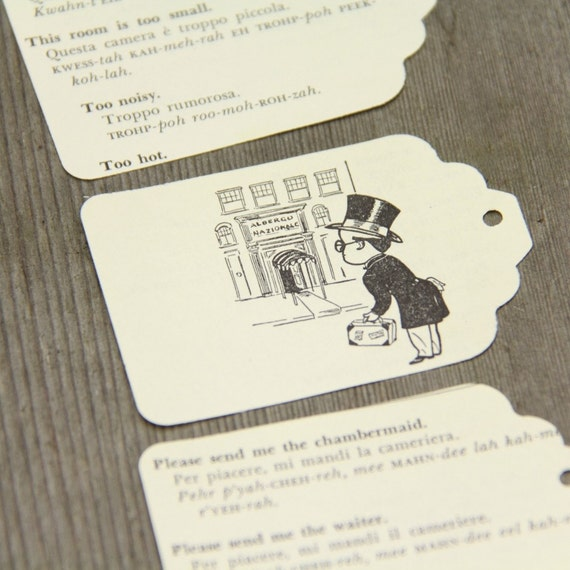 25 Hang Tags Die cuts English-Italian Dictionary