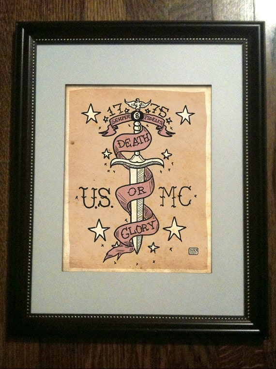 USMC TATTOO ART Limited Edition Print (UNFRAMED) 2/50. From Nito71