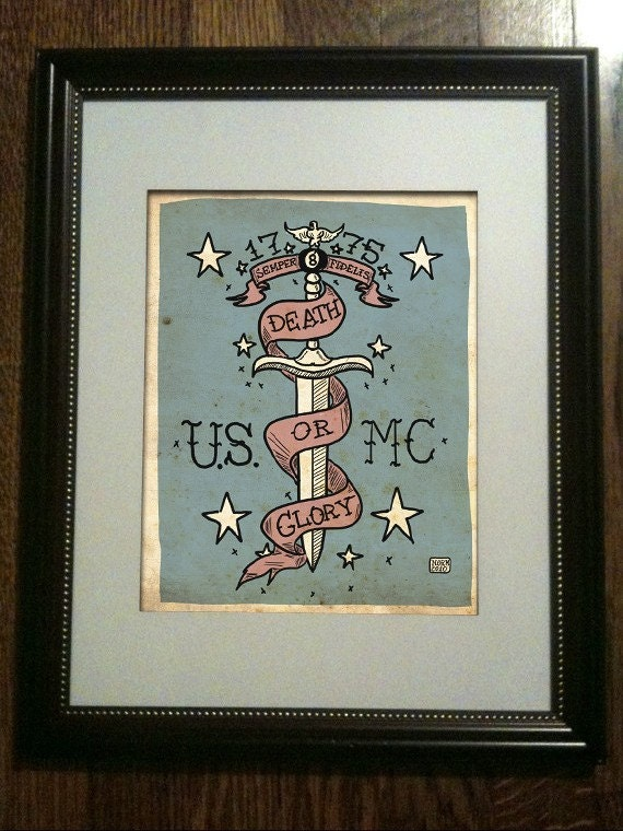 USMC TATTOO ART Limited Edition Print (UNFRAMED) 6/50. From Nito71