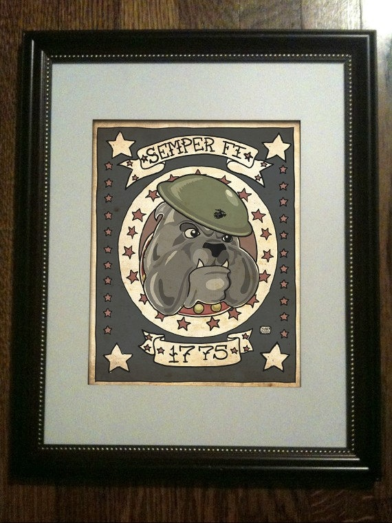 USMC TATTOO Devil Dog Limited Edition Print (UNFRAMED) 3/50. From Nito71