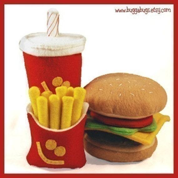VERY HAPPY MEAL - PDF Felt Food Pattern (Hamburger, Milk Shake, Fries)