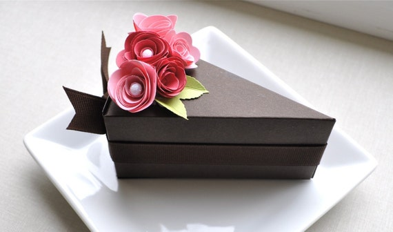Chocolate paper cake slice with two toned pink flowers