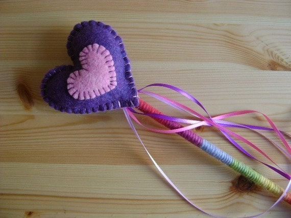 Heart Rainbow Magic Wand in Purple and Pink Plant Dyed Wool Felt