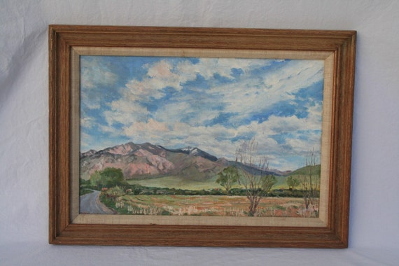Vintage original oil painting of Taos mountain
