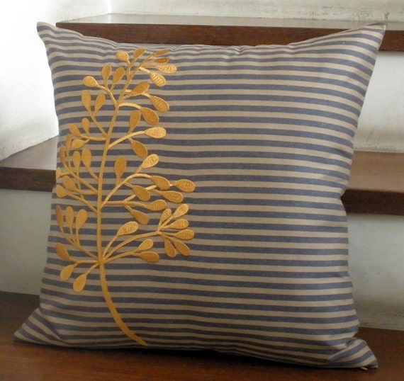 "Gold Fern Leaves Throw Pillow Cover - 18"" x 18"" Cotton  Decorative Pillow Cover - Stripe Cotton with Gold Leaves Embroidery"