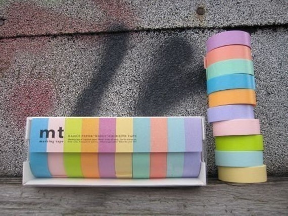 Pretty Japanese masking tape - Light Pastels ( pack of 10 cuties )