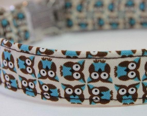 Custom Dog Collar - Tiny Owls in Blue