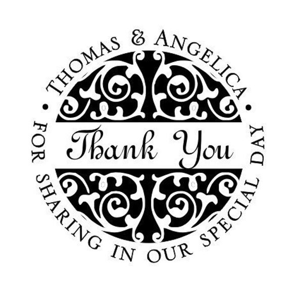 Thank you for sharing in our special day personalized names rubber stamp wedding GIFT- style  HS1265