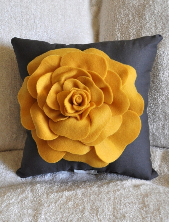 Mustard Yellow Rose on Grey Pillow